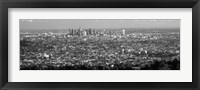 Framed Black and White View of Los Angeles from a Distance