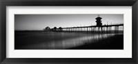 Framed Pier in the sea, Huntington Beach Pier, Huntington Beach, Orange County, California (black and white)
