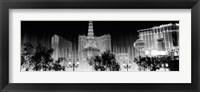 Framed Las Vegas Hotels at Night (black & white)