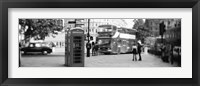 Framed Phone Box, Trafalgar Square, England (black and white)