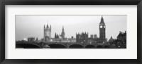 Framed Houses of Parliament, Westminster Bridge and Big Ben, London, England