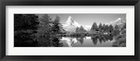 Framed Reflection of trees and mountain in a lake, Matterhorn, Switzerland (black and white)
