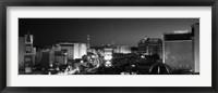 Framed Buildings Lit Up At Night, Las Vegas, Nevada, USA (black & white)