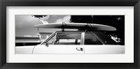 Framed California, Surf board on roof of car (black and white)