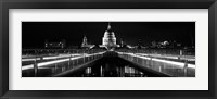 Framed Bridge lit up at night, London Millennium Footbridge, St. Paul's Cathedral, Thames River, London, England