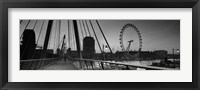 Framed Bridge across a river with a ferris wheel, Golden Jubilee Bridge, Thames River, Millennium Wheel, London, England