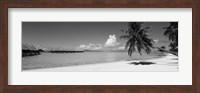 Framed Moana Beach (black and white), Bora Bora, Tahiti, French Polynesia