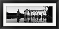 Framed Chateau de Chenonceaux Loire Valley France (black and white)