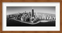 Framed Aerial view of buildings in a city, Lake Michigan, Lake Shore Drive, Chicago, Illinois, USA
