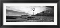 Framed Solitary windmill near a pond in black and white, U.S. Route 89, Utah