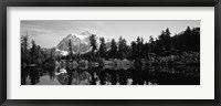 Framed Reflection of trees and mountains in a lake, Mount Shuksan, North Cascades National Park, Washington State (black and white)