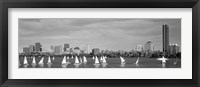Framed Black and white view of boats on a river by a city, Charles River,  Boston