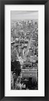 Framed Aerial View of Traffic Through Manhattan (black & white)