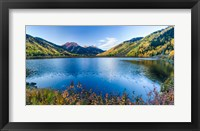 Framed Crystal Lake surrounded by mountains, Ironton Park, Million Dollar Highway, Red Mountain, San Juan Mountains, Colorado, USA