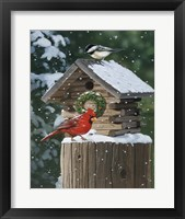 Framed Cardinal / Chickadee In Snow