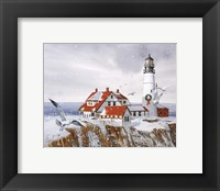 Framed Winter Lighthouse