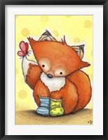 Framed Little Fox in Socks