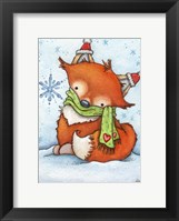Stay Warm Little Fox Framed Print