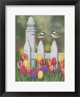 Framed Chickadees And Tulips
