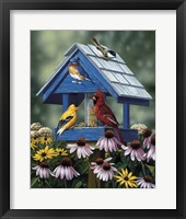 Framed Birdhouse/Birds/Coneflower