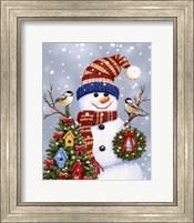 Framed Snowman With Wreath