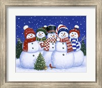 Framed Five Snowmen
