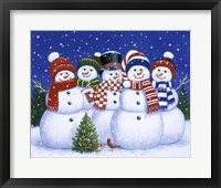 Framed Five Snowmen