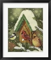 Framed Snowy Birdhouse