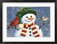 Framed Snowman With Cardinal And Chickadee