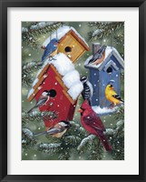 Framed Winter Birdhouses
