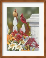 Framed Lilies And Cardinals