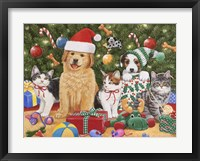 Framed Puppies & Kittens Christmas