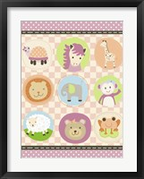 Framed Baby Girl Animal Friends