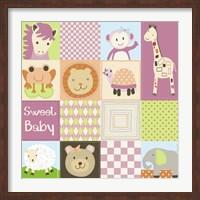 Framed Baby Girl Animal Quilt