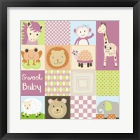 Framed Baby Girl Animal Quilt