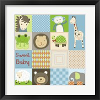 Framed Baby Boy Animal Quilt