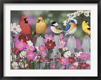 Framed Song Birds and Cosmos