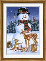 Framed Snowman With Friends