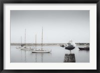 Framed Four Boats & Seagull