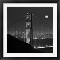 Framed Golden Gate and Moon BW