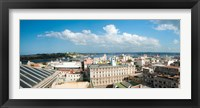 Framed Buildings in a city at the waterfront viewed from a government building, Obispo House, Mercaderes, Old Havana, Havana, Cuba