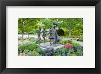 Framed Bronze statue of mother and children, Temple Square, Salt Lake City, Utah, USA