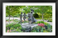 Framed Bronze statue of mother and children, Temple Square, Salt Lake City, Utah, USA