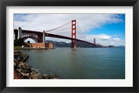 Framed Golden Gate Bridge viewed from Marine Drive at Fort Point Historic Site, San Francisco Bay, San Francisco, California, USA