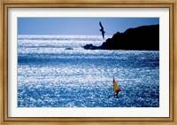 Framed Windsurfer in the sea, Sint Maarten, Netherlands Antilles