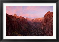 Framed Zion Canyon at sunset, Zion National Park, Springdale, Utah, USA