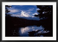 Framed Reflection of a snow covered mountain in a lake, Mt Hood, Lost Lake, Mt. Hood National Forest, Hood River County, Oregon, USA