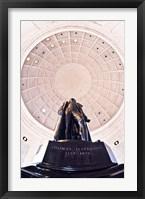 Framed Statue of Thomas Jefferson in a memorial, Jefferson Memorial, Washington DC, USA