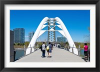 Framed People strolling on Humber Bay Arch Bridge, Toronto, Ontario, Canada