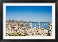 Framed Rock stacks with skylines in the background, Toronto, Ontario, Canada 2013
